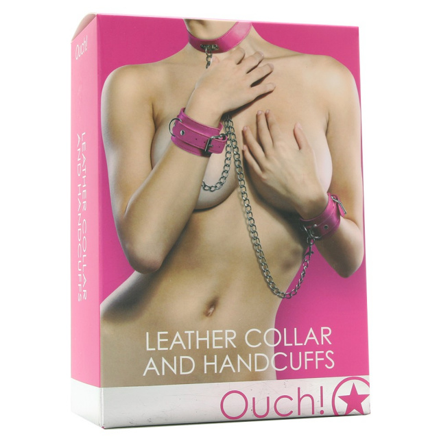 Ouch! - Collar and Handcuffs - Pink