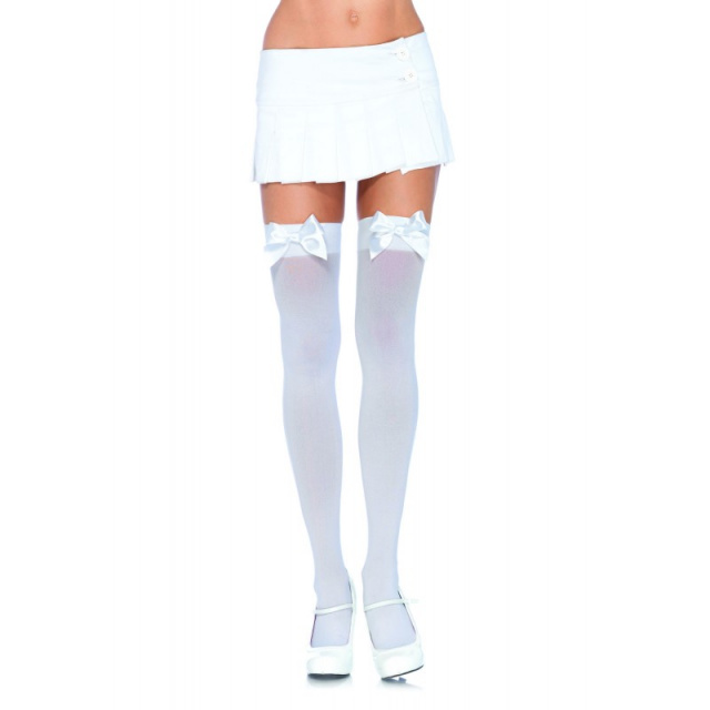 Opaque Thigh Highs w/ Satin Bow