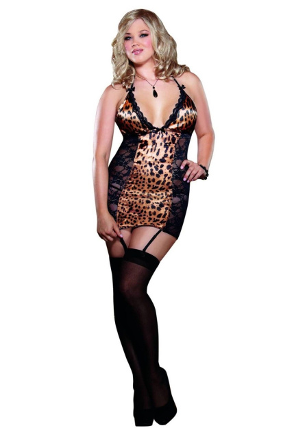Leopard Print Satin and Lace Garter Slip